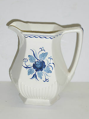"""ADAMS """"BALTIC"""" PITCHER WITH BLUE FLOWERS                                      g8"""