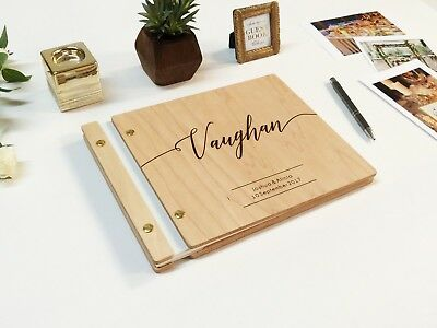 Modern Wooden Wedding guest book Customized Polaroid guest book engraving