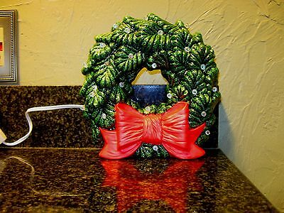 Lighted Ceramic Christmas Wreath with Red Bow, Clear Lights