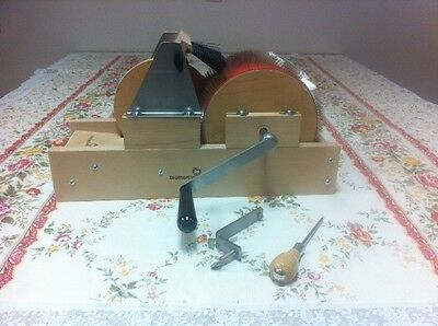 "New Baby Brother 4"" wide mini size drum carder W/Packer Brush, Clamp and Doffer"