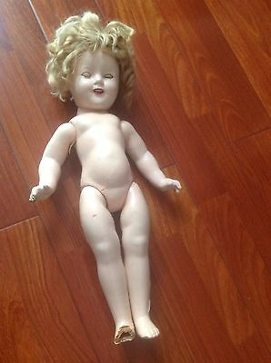 """antique shirley temple doll 17"""" You Can Restore Or Use It For Parts"""
