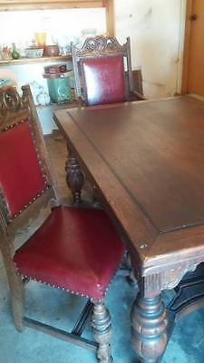 Antique/Victorian/wooden/8 foot dinning table/Furniture/Table/Chairs/Buffet/1910