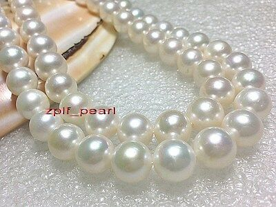 """Noblest round AAAAA 35""""12-13mm Natural real southsea white pearl necklace 14K"""