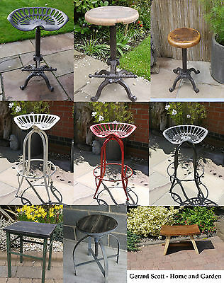 Rustic Vintage Tractor Wooden Seat,Breakfast Bar Kitchen Stool Cast Iron, Garden