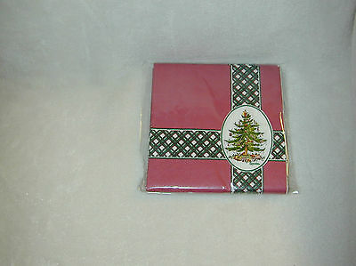 SPODE BURGUNDY/WITH CHECKED STRIPE/CHRISTMAS TREE 16 BEVERAGE PAPER NAPKINS-NEW
