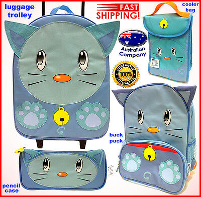 Luggage SET Animal backpack, lunch cooler, trolley, pencil case Portable Cat