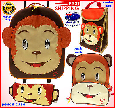 Luggage SET Animal backpack, lunch cooler, trolley, pencil case Portable Monkey