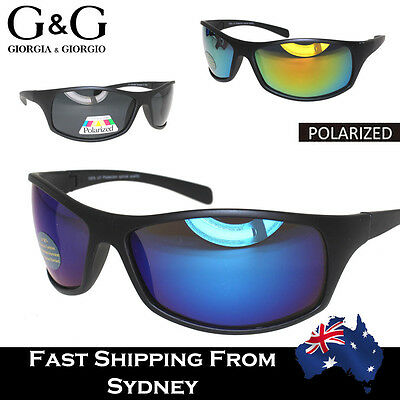 G&G Fashion Wrap Around Men Sunglasses Mirror Reflective Lens Blue Gold Black