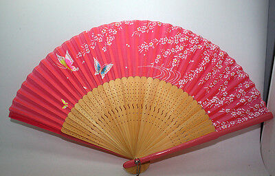 Chinese Japanese Folding Silk Hand Bamboo Asian Pocket Fan with Flowers Butterfl