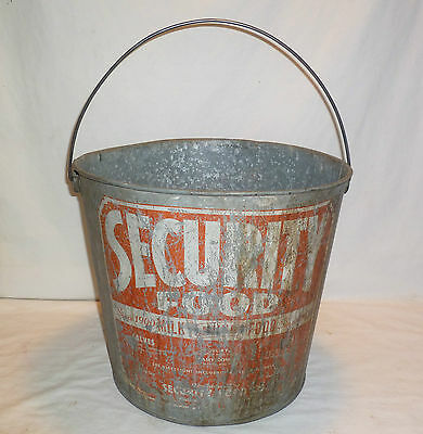 Vintage 1930s Security Food Feed Bucket Calf Calves Cow MilkAdvertising Can