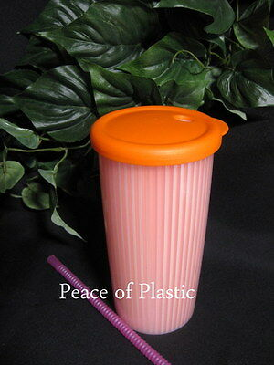 Tupperware New 24 oz ORANGE Insulated Tumbler Cup DripLess Straw ORANGE Seal