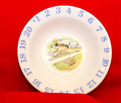 Child's Bowl Dish with Train, Tractor, and Numbers White w/ Blue