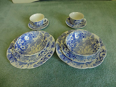 Wood & Sons England Blue Gay Day China Bowl Salad Dinner Plate Cup Saucer Bowls