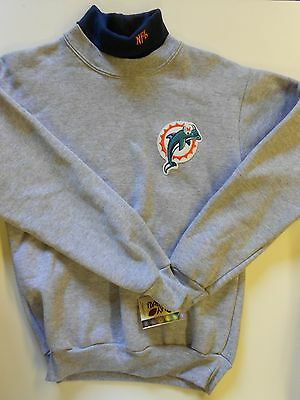 "NOS Vtg '80's Majestic Dolphins NFL Sweatshirt Youth Size Large 34"" USA Rare!"