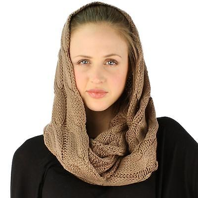 Winter Soft Pullover Cable Wide Knit Long Loop Infinity Hood Cowl Scarf Taupe