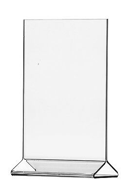 """Lot of 12 Clear Acrylic 4"""" x 6"""" Upright Sign Holders Top Load Table Tent"""