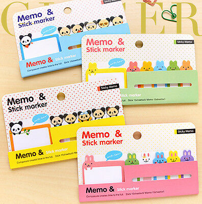 Cute Animal Cartoon Sticker Post It Bookmark Marker Memo Index Pads Sticky Notes