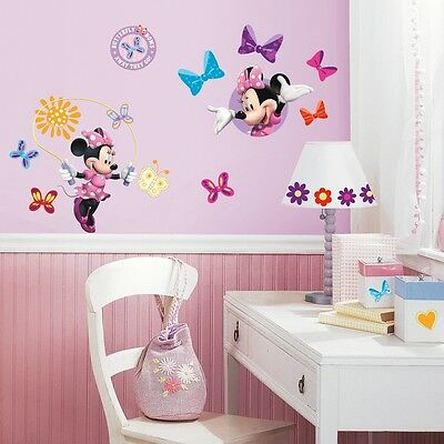 33 New Minnie Mouse Bow Tique Wall Decals Disney Stickers Girls Pink Room Decor