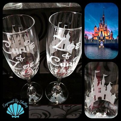 Handmade Personalised DISNEY CASTLE Wedding Valentines Champagne Flutes Gift