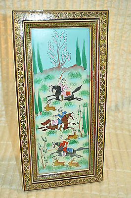 ON SALE VTG Persian Hand Painted Painting of Hunters on horses in inlaid frames