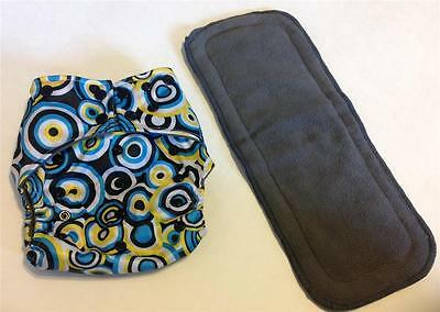Circles Charcoal Bamboo Pocket Cloth Diaper Diapers Nappy **Insert Included**
