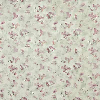 3 Yards of F817 Green Burgundy Pastel Butterflies Flowers Upholstery Fabric