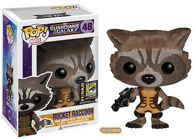 Damaged Box Guardians Of The Galaxy Sdcc Exclusive Flocked Rocket Raccoon Pop