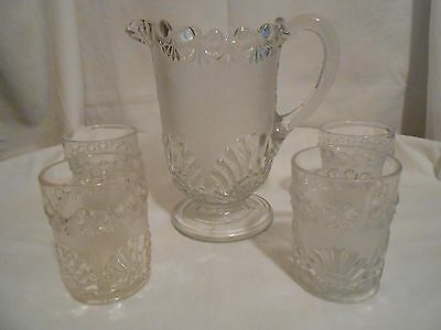 Antique Victorian Water Pitcher and Glasses - 1880's