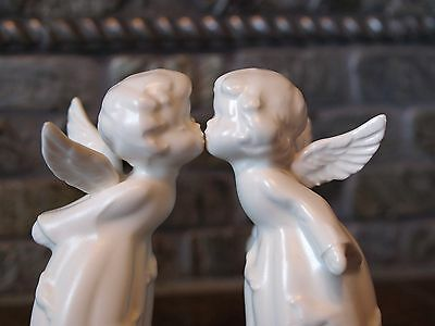 Pair of Vintage Christmas White Bisque Kissing Angels