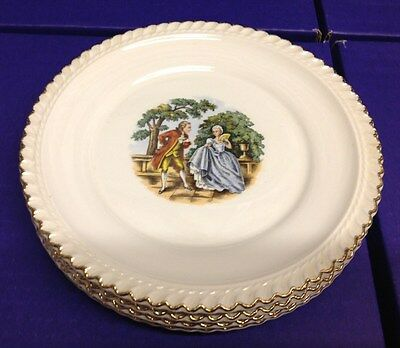 Harker Pottery 22 K Gold Plates  (4 )- Early continental scene