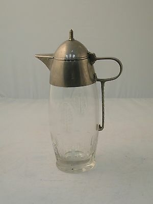 Claret Jug Decanter English C 1920 Glass & Silver Plated Top, Rounded & Modern