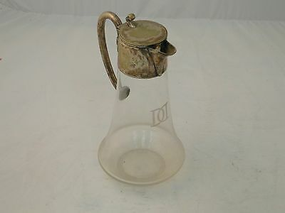 Claret Jug Decanter English C 1920 Glass & Silver Plated Top Simple Shape