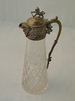 Claret Jug Decanter English C 1920 Cut Glass & Cast Chased Silver Plated Top