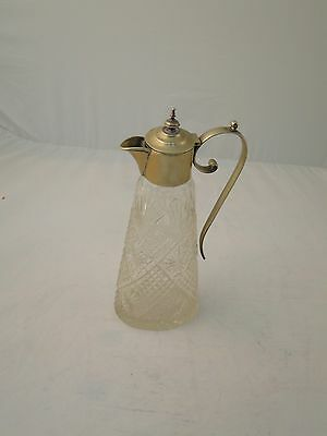 Claret Jug Decanter English C 1900 Cut Glass & Silver Plated, Antique &  Stylish