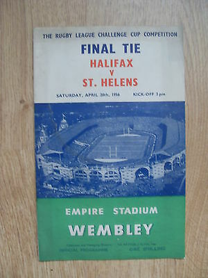 Halifax v St Helens 1956 Rugby League Challenge Cup Final Programme