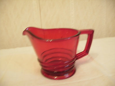 Red Ruby Glass Cream Pitcher