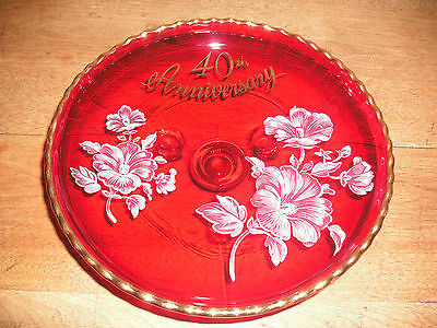 Ruby Glass 40th Anniversary Three-Footed Candy or Serving Dish