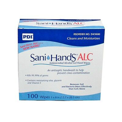 Sani Hands Alc Alcohol Gel Hand Wipes 100/box, D43600, Unscented