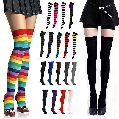 Ladies Striped Over Knee Thigh High Stockings Long Socks Hosiery Costume 7936