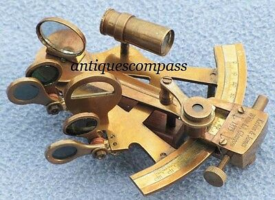 Collectible Rep Brass Antique Finish Marine Nautical Brass Sextant 120 mm Long