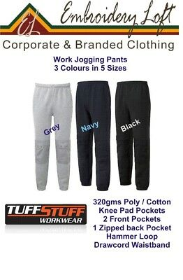 """TUFFSTUFF Comfort Work Pants """"Joggers"""" with Knee Pad Pockets 5 Sizes 2 Colours"""