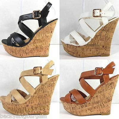 New Women's Fashion Wedge Cork Sandal High Heels Platform Slip On Strappy Pumps