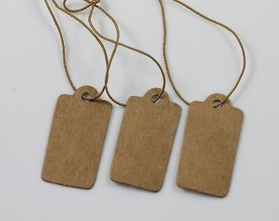 100Pcs Lots High-end Price Label Tags Blank Kraft Paper With Elastic String DIY