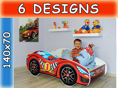 Childrens Bed Toddler Kids With Mattress !!!  Racing Car Bed!!!