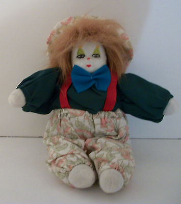 Vintage? Red Haired Porcelain Face CLOWN DOLL Sitting Cute & Collectible Cloth