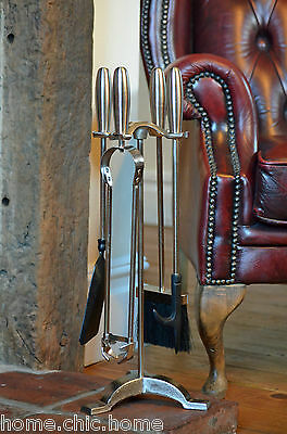"""Companion Set in Pewter. Elipse Fire Tool Set H21"""" (54cm)"""