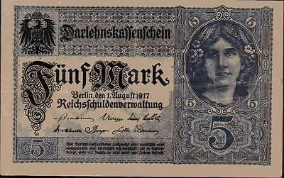 1917 German Empire 5 Mark Banknote