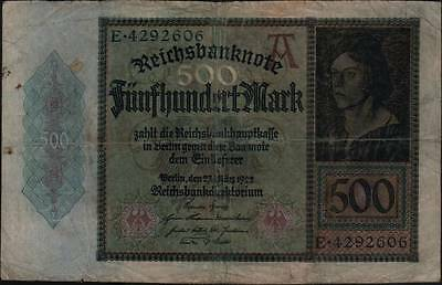 1922 Germany Weimar Republic 500 Mark Banknote Well circulated
