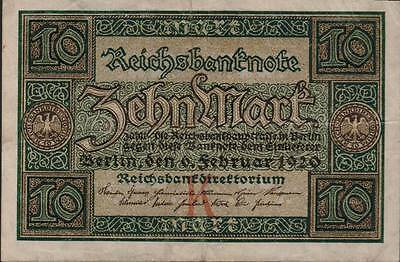 1920 Germany Weimar Republic 10 Mark Banknote