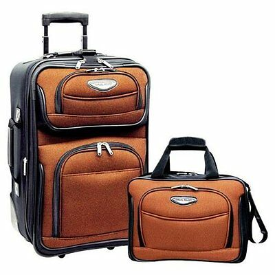 "Travel Select Orange Amsterdam 2-Piece Carry-on 21"" Rolling Luggage Tote Bag Set"